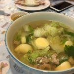 白菜と豚ひき肉のスープ